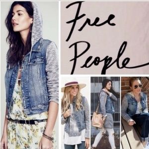 FREE PEOPLE KNITTED HOODED BLUE JEAN JACKET